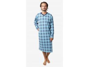 CALVI pánská noční košile dlouhý rukáv 18-408 tyrkysová