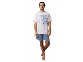 CALVI pánské pyžamo krátké 19-093 šedozelená