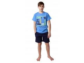 CALVI chlapecké pyžamo krátké 19-080 modrá