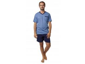 CALVI pánské pyžamo krátké 19-537 modrá