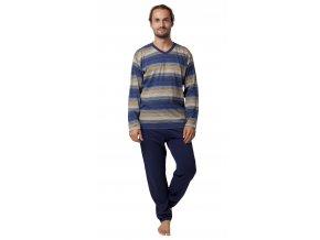 CALVI pánské pyžamo dlouhé 19-552 modrá s okrovou