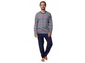 CALVI pánské pyžamo dlouhé 19-552 modrá s červenými proužky