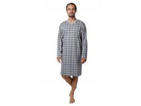 CALVI pánská noční košile dlouhý rukáv 19-531 šedá