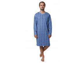 CALVI pánská noční košile dlouhý rukáv 19-531 modrá