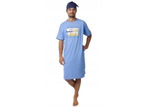 CALVI pánská noční košile krátký rukáv 19-530 modrá