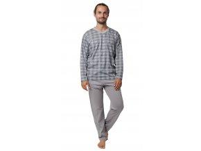 CALVI pánské pyžamo dlouhé 19-549 šedá