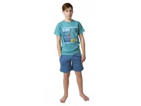 CALVI chlapecké pyžamo krátké 19-080 zelená