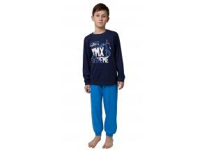 CALVI chlapecké pyžamo dlouhé 20-123 tmavě modrá
