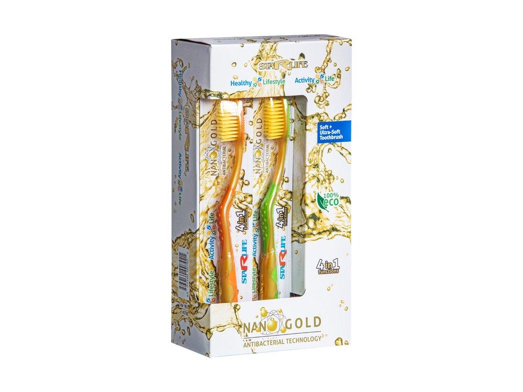 NANO GOLD, SET, 12 pcs - sada zubních kartáčků s ionty zlata