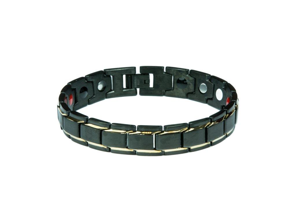 Bracelet BONNIE black + gold, 1 pcs - Elegantní magnetický náramek