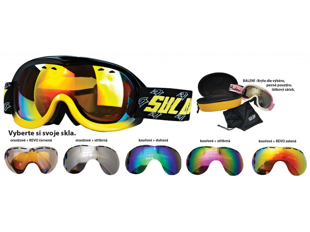 Brýle sjezdové juniorské SULOV PASSO, dvojsklo, černo-žluté
