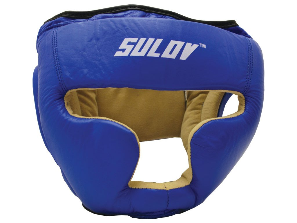 Chránič hlavy uzavřený SULOV, kožený, modrý