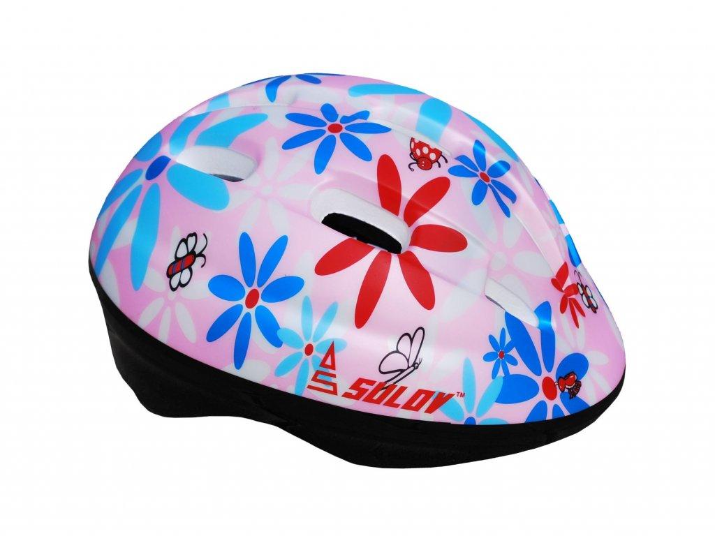 Dětská cyklo helma SULOV JUNIOR, sv. růžová s květy
