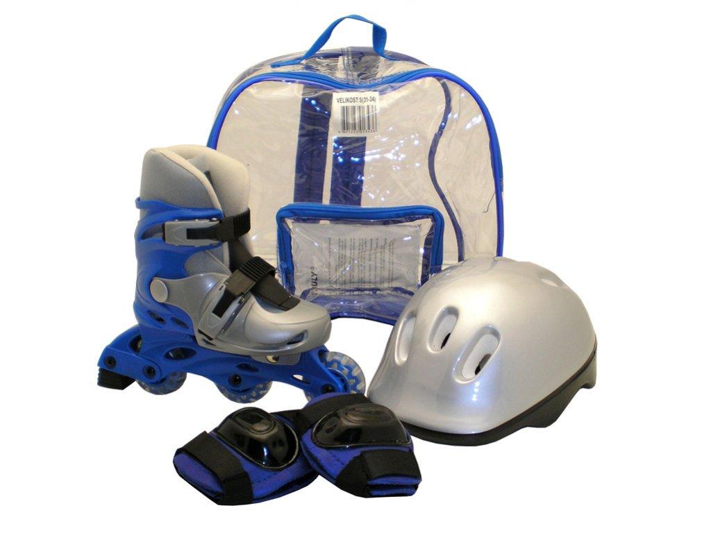 Kolečkové brusle sada brusle+helma+chrániče, modré