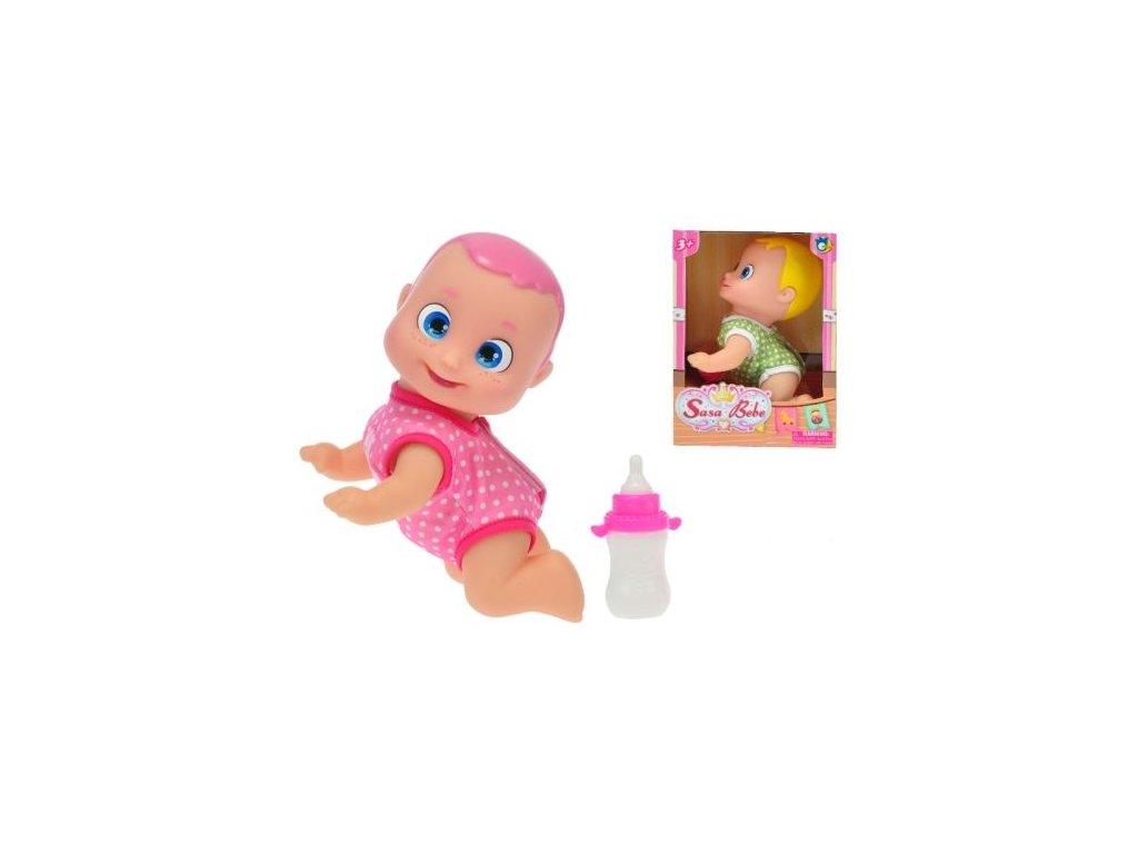 miminko tvrde telo 17cm velke oci klecici s lahvickou 2barvy v krabicce