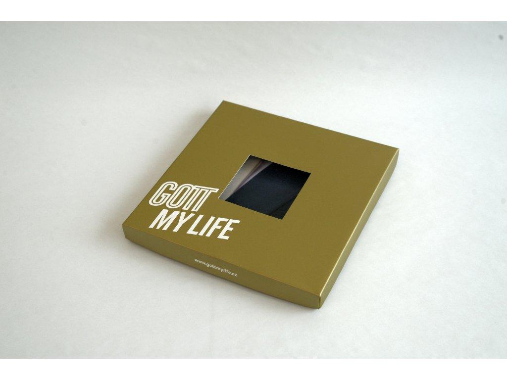 Kapesník černobílý ve zlaté dárkové krabičce s certifikátem