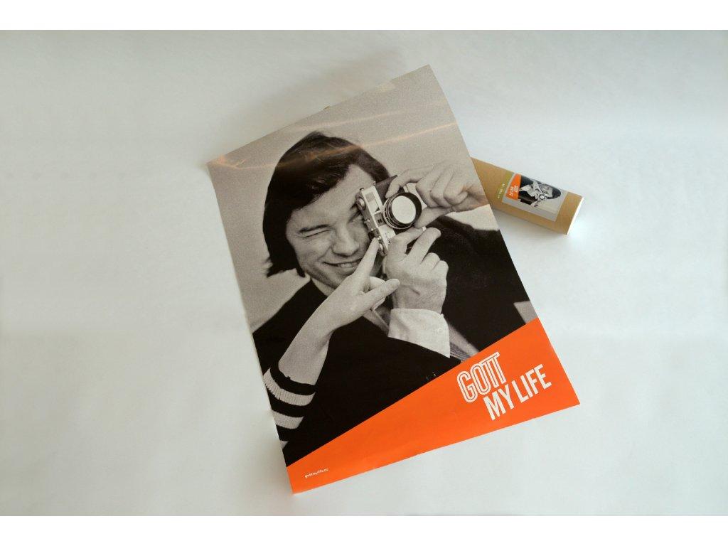 Karel Gott - plakát 42x59,4 oranžový, dodáváno v tubusu