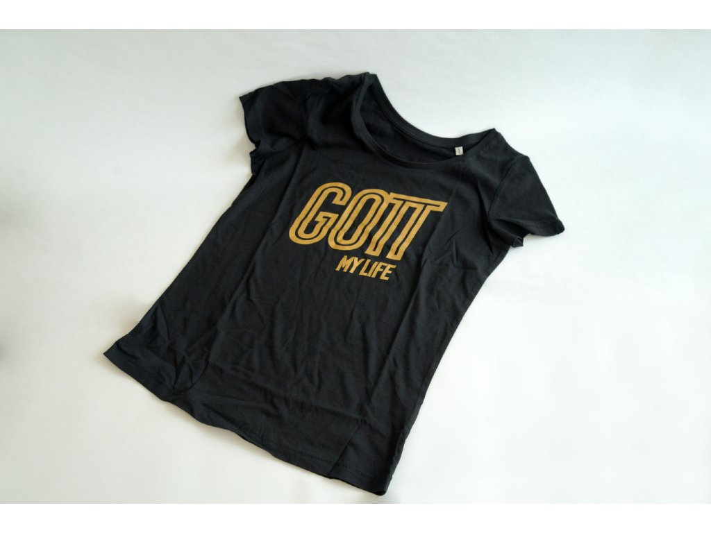 Tričko Gott my life černé pánské.  Limitovaná edice ku příležitosti výstavy Gott, my life. S-XXL