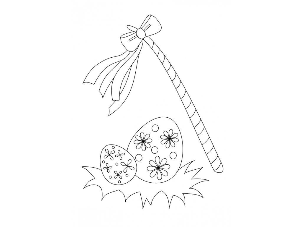 Šablona Velikonoční motiv s pomlázkou