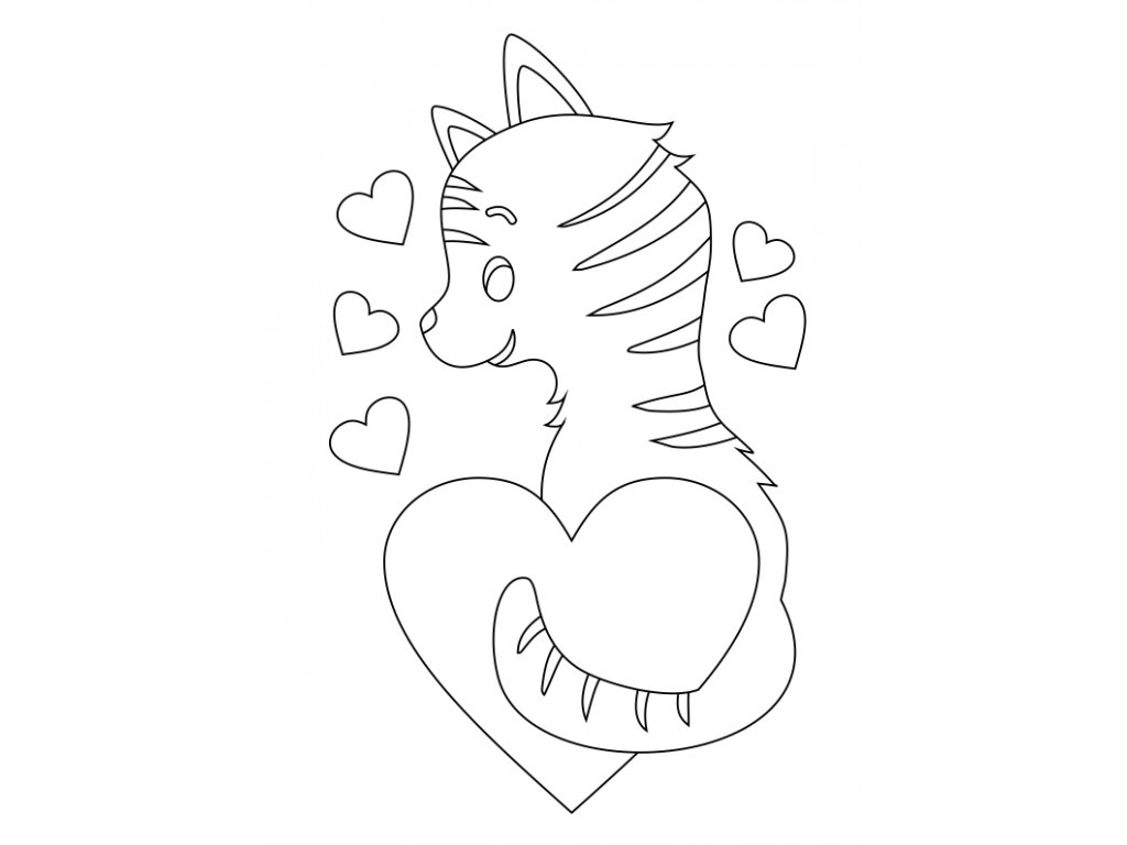 Šablona Kočička se srdíčky