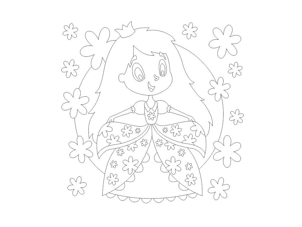 Šablona Princezna s květinami