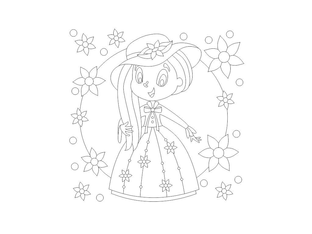 Šablona Princezna s kloboukem