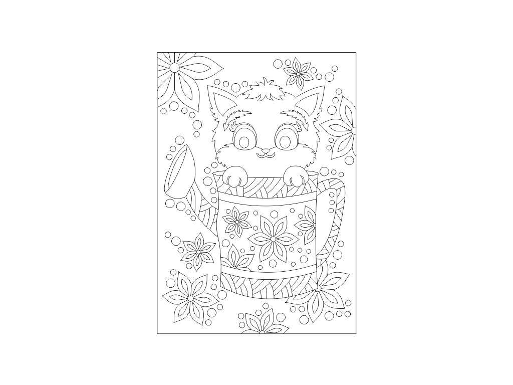 Šablona Kočička s květinami