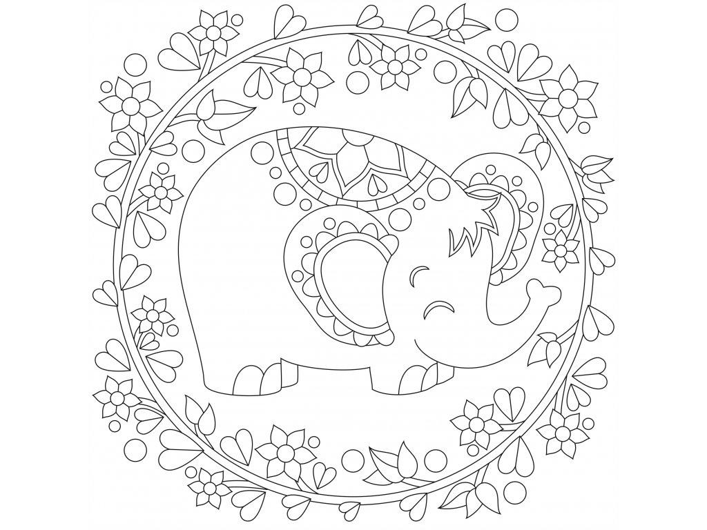 Šablona Sloneček s květinami