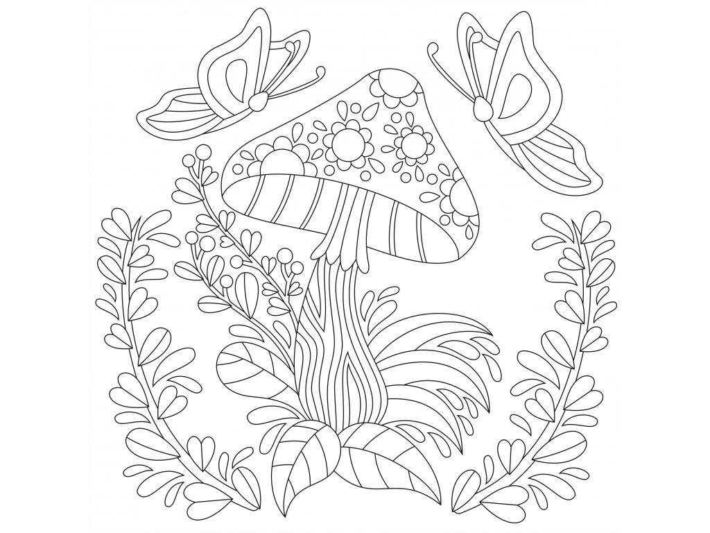 Šablona Houba s květinami