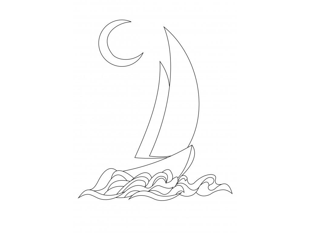 Šablona Loďka ve vlnách