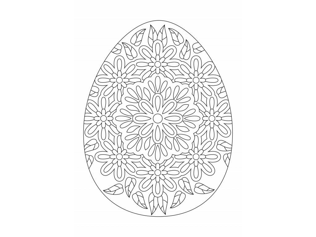 Šablona Velikonoční vajíčko s květinami