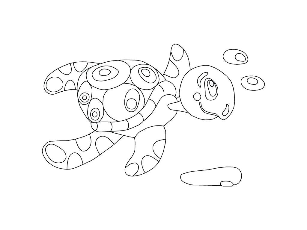 Šablona Plavající želvička
