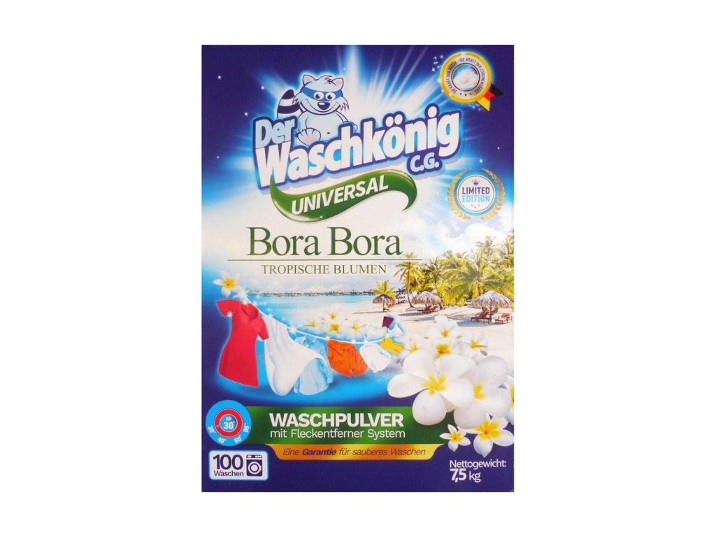Waschkönig (Německo) WASCHKÖNIG BORA BORA Prací prášek 7,5kg (100dávek) LIMITOVANÁ EDICE Waschkönig Bora Bora: Universal