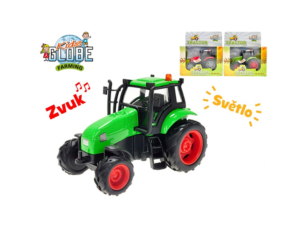 Traktor kov 11cm na setrvačník na baterie se světlem a zvukem 3barvy v krabičce