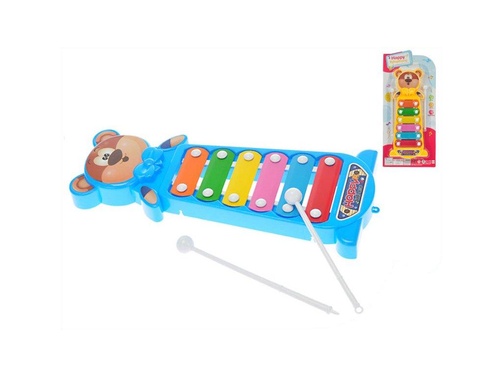 Xylofon medvídek 28cm 2barvy na kartě