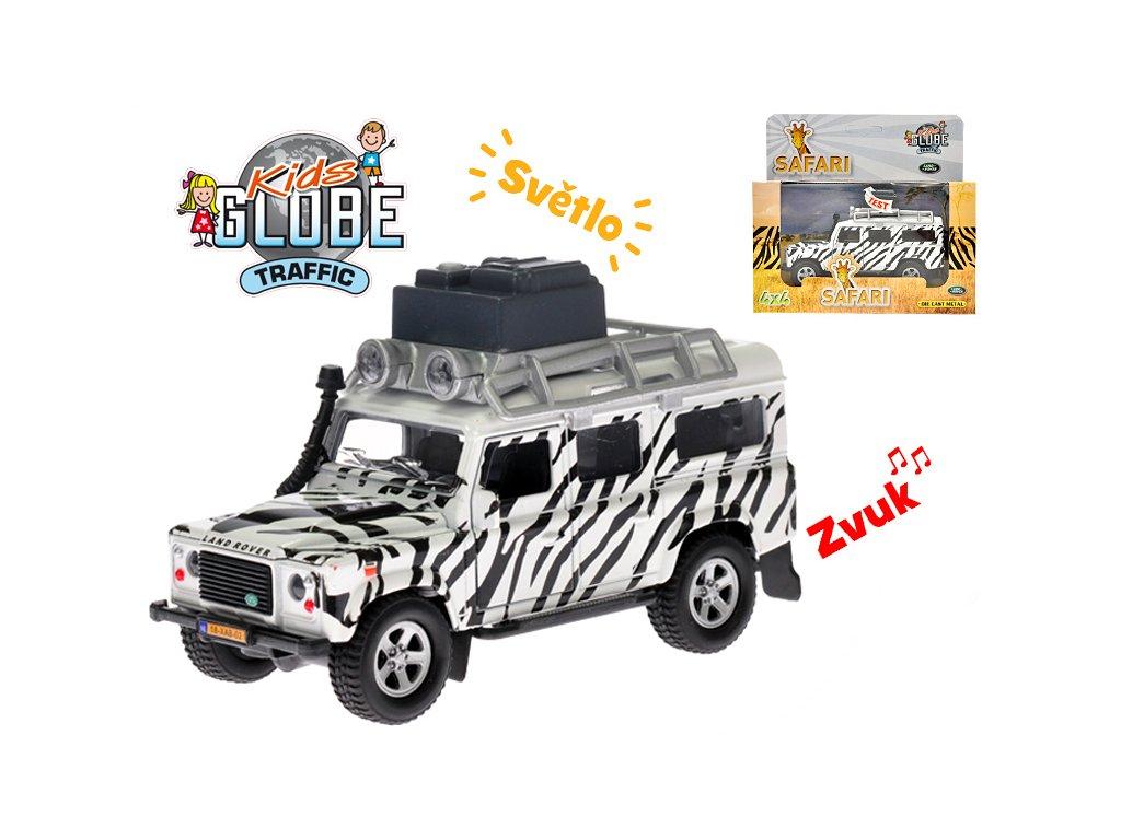 Auto Land Rover safari 14cm kov na zpětný chod na baterie se světlem a zvukem v krabičce