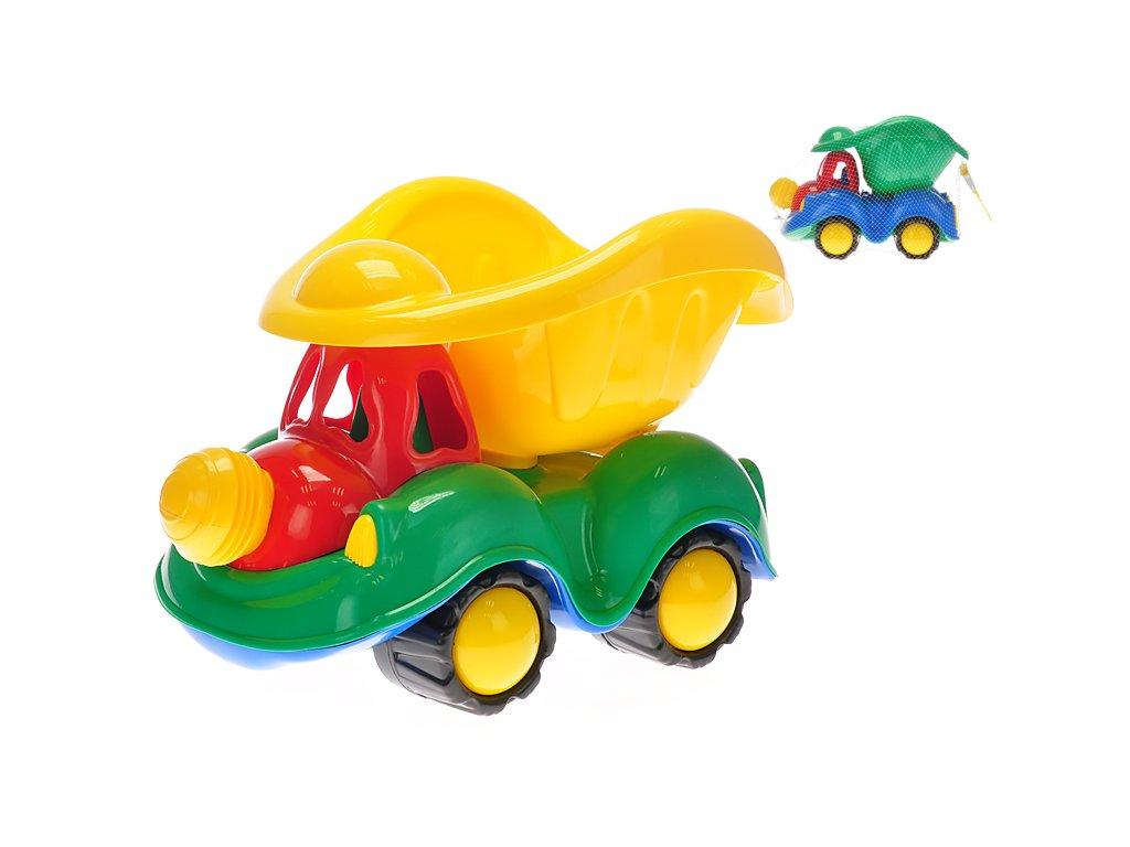 Auto sklápěčka klaun 35cm 2barvy v síťce
