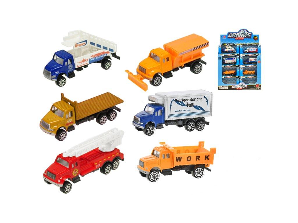 Auto nákladní 9,5cm kov 1:64 volný chod 12druhů v krabičce 24ks v DBX