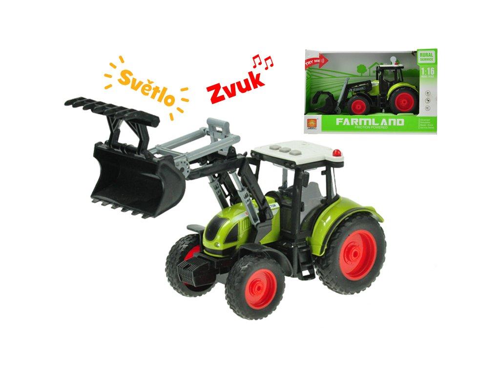 Traktor nakladač 24cm 1:16 na setrvačník na baterie se světlem a zvukem v krabičce