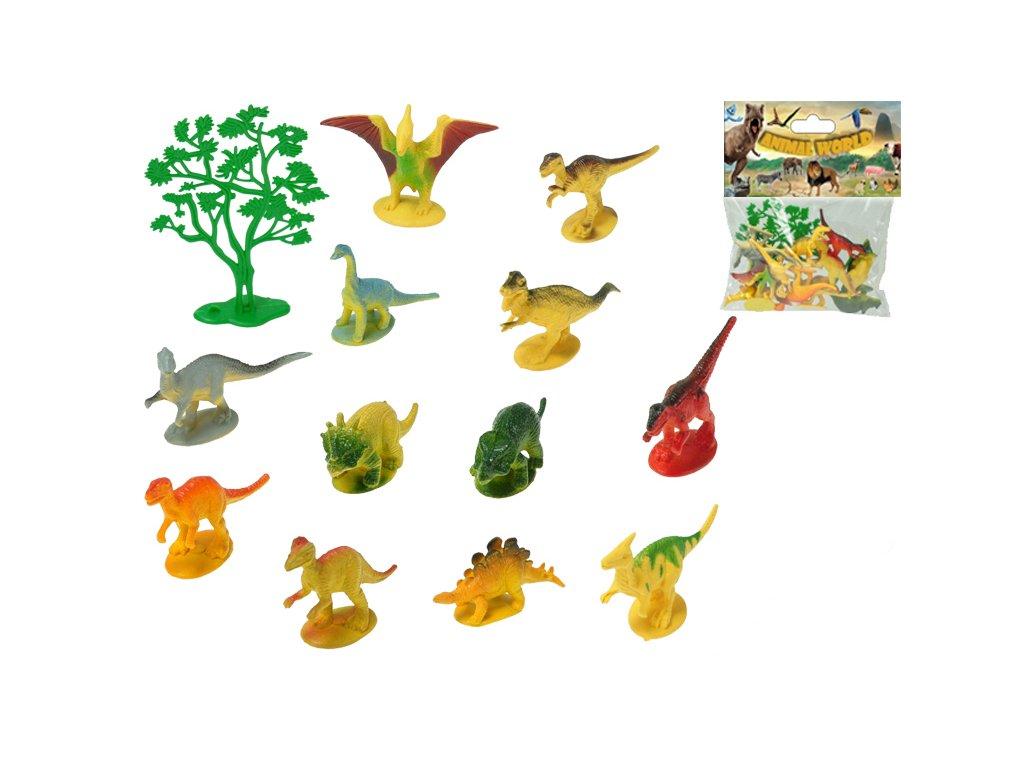 Dinosauři 6-8cm 12druhů + stromek 13ks v sáčku