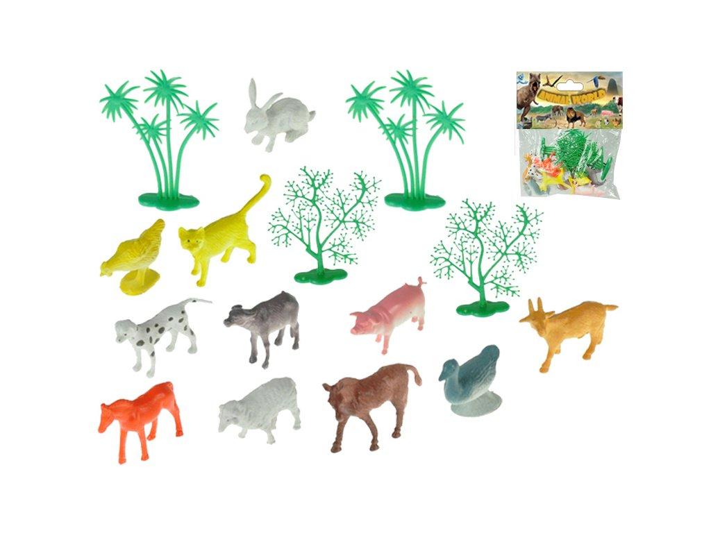 Zvířátka farma 4-6cm 15ks + 4stromky 15ks v sáčku