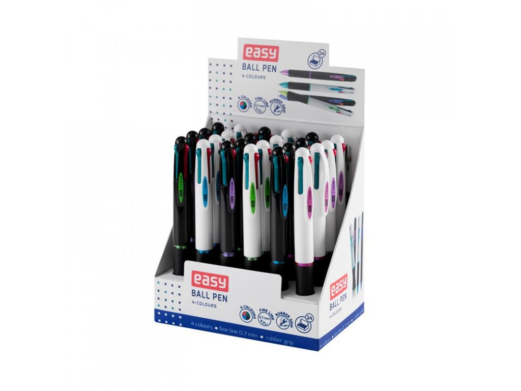 Čtyřbarevné kuličkové pero, 24 ks display