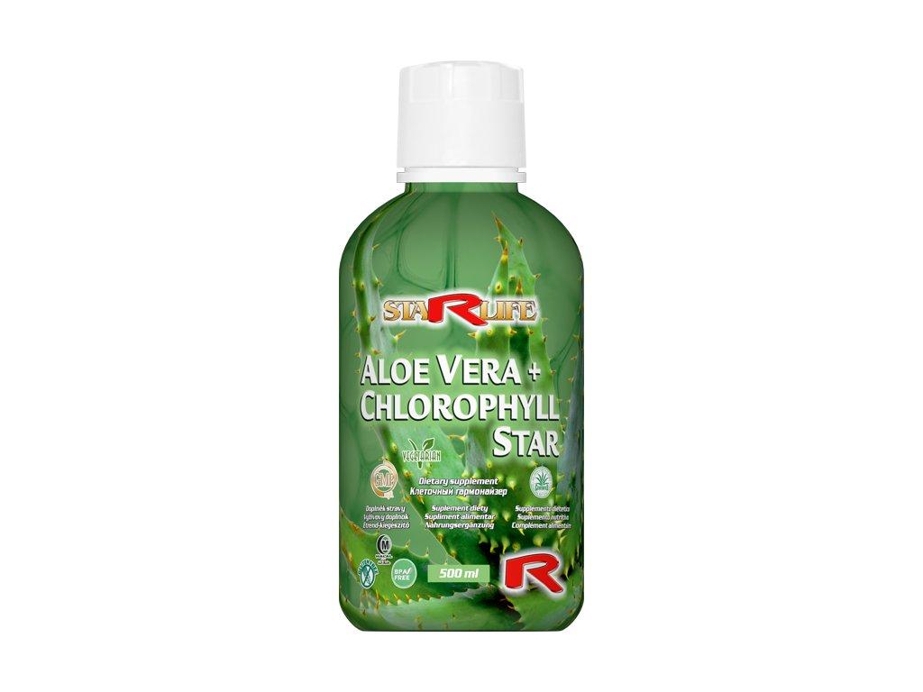 ALOE VERA + CHLOROPHYLL STAR, 500 ml - trávení, vzhled pokožky