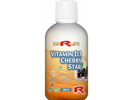 VITAMIN D3 CHERRY STAR, 500 ml - imunita, normální stav kostí a svalů