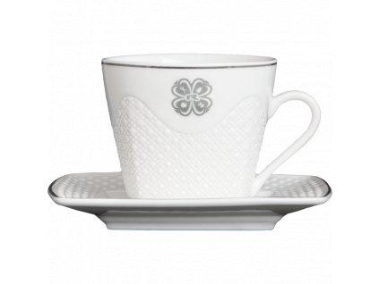 CUP, 125 ml + PLATE, WHITE CERAMIC, 1 pcs -
