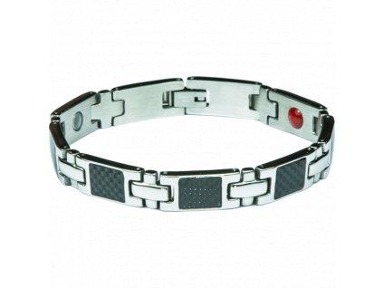 Bracelet BERNIE silver + black, 1 pcs - Elegantní magnetický náramek