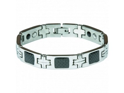 Bracelet BERNIE black + silver, 1 pcs - Elegantní magnetický náramek