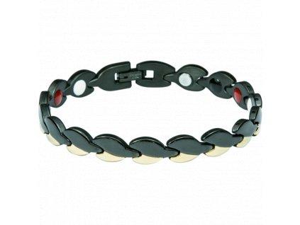 Bracelet DIANA black + gold, 1 pcs - Elegantní magnetický náramek