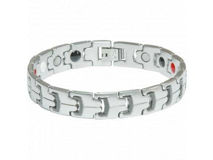 Bracelet LINDSAY silver + black, 1 pcs - Elegantní magnetický náramek