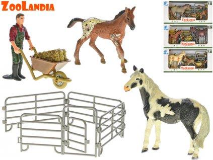 Zoolandia kůň s hříbětem a doplňky 4druhy v krabičce